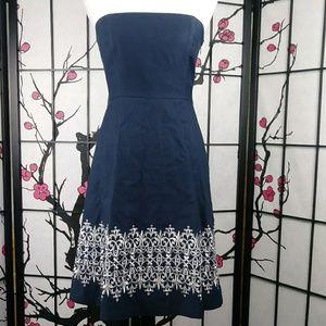 Loft Embroidered Strapless Cotton Dress Navy White